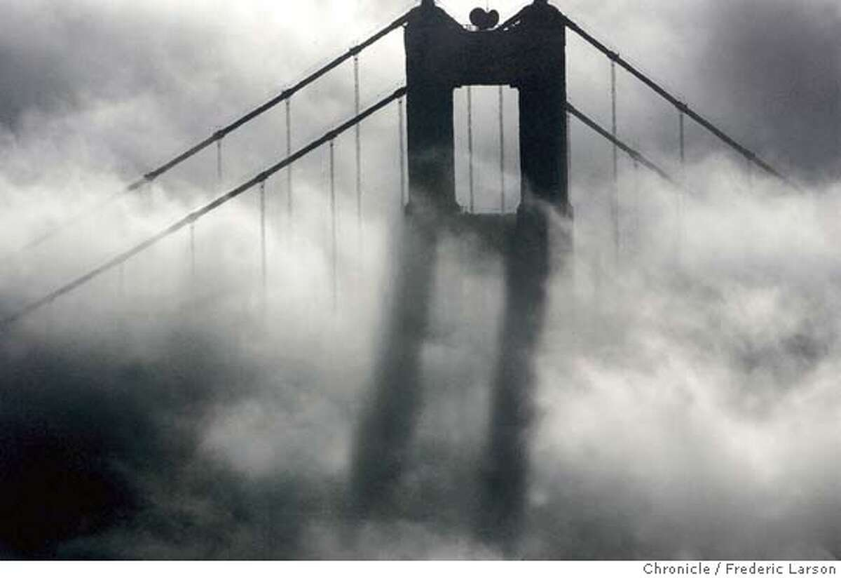 FOG002_150_fl.jpg The south tower of the Golden Gate Bridge took on a reflection of it's own as the heavy fog reflected its own image. The dense fog causethe Bay Area morning commute to come to a crawl. 11/18/04 San Francisco CA Frederic Larson The San Francisco Chronicle