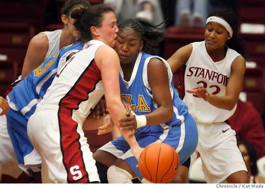 STANFORD225_KW.jpg  Stanford Cardinal's (L to R) Jillian Harmon and UCLA Bruin's Tierra Henderson collide during the second half of the game at the Maples Pavillion on Wednesday February 21, 2007. Stanford won the game with a final score of 65 to 54  Kat Wade/The Chronicle Ran on: 02-23-2007  Stanford's Jillian Harmon and Tierra Henderson of UCLA collide during the tightly played second half.  Ran on: 02-23-2007 Photo: Kat Wade