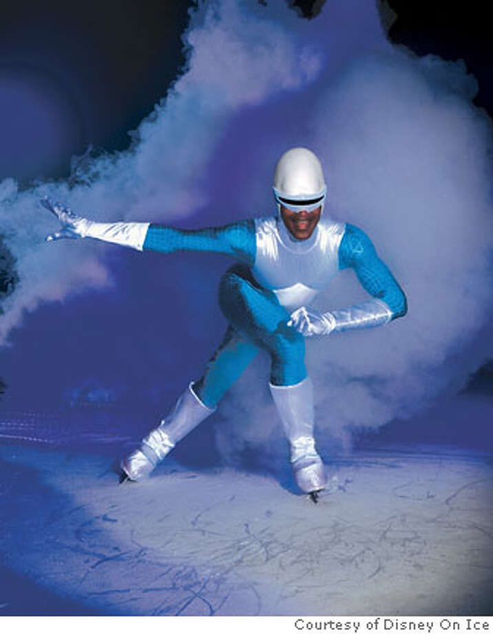 Frozone (Skyler Rodgers) helps save the day, part of the action in Disney On Icesm presents a Disneyland Adventure.  Credit: Courtesy Disney on Ice Photo: Courtesy Disney On Ice