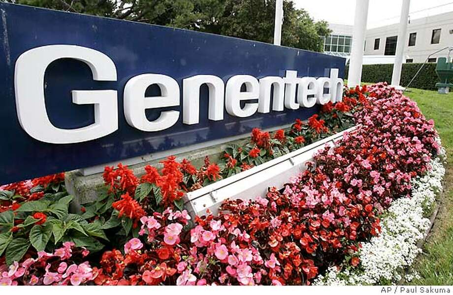 The Genentech Inc. headquarters are seen in South San Francisco, Calif., Monday, July 10, 2006. Genentech Inc. releases second-quarter earnings after the bell. (AP Photo/Paul Sakuma)  Ran on: 07-12-2006  Genentech reported increased net income, but sales of Avastin were lower than expected.  ALSO Ran on: 01-10-2007  The ruling went against Genentech, but the South San Francisco company is confident in its patent. Photo: PAUL SAKUMA