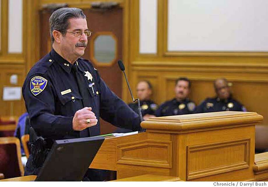 "tracking22_0002_db.JPG  SFPD deputy police chief, Charles Keohane, talks to the San Francisco Police Commission prior to their eventual vote about the ""Early Intervention System."" The San Francisco Police Commission votes yes to adopt an ""Early Intervention System"" at their San Francisco City Hall meeting in San Francisco, CA, on Wednesday, February, 21, 2007. photo taken: 2/21/07  Darryl Bush / The Chronicle ** Charles Keohane (cq) MANDATORY CREDIT FOR PHOTOG AND SF CHRONICLE/NO SALES-MAGS OUT Photo: Darryl Bush"