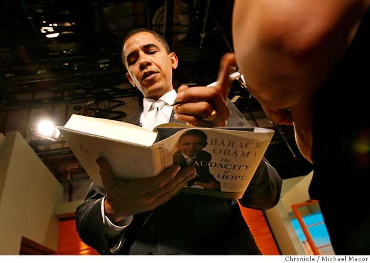 obama_108_mac.jpg Signing books following interviews over at KGO studios. Senator Barack Obama, D. Illinois, possible presidential candidate, in San Francisco today stopping KGO studios for an interview, an hour on the Ronn Owens radio program then over to the Marin County Civic Auditorium, for a book signing and fund raiser for the Marin Education Fund. Event in, San Francisco, Ca, on 10/25/06. Photo by: Michael Macor/ San Francisco Chronicle Mandatory credit for Photographer and San Francisco Chronicle No sales/ Magazines Out