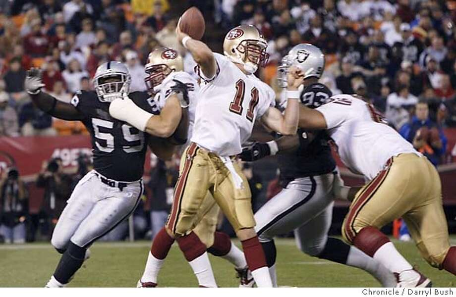 San Francisco 49ers Alex smith throws a pass late in the 2nd qtr vs. Oakland Raiders preseason at Monster Park (formerly Candlestick).  Event on 8/13/05 in San Francisco.  Darryl Bush / The Chronicle Photo: Darryl Bush
