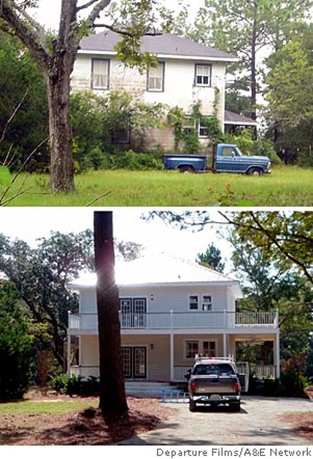 (NYT8) JAMES ISLAND, S.C.-- Aug. 5, 2005 -- HOUSING-TV-1 -- A house purchased for $235,000, top, before $155,000 in renovations shown on''Flip This House'' on A&E. Below, the house after which was sold for $550,000. (Departure Films/A&E Network via The New York Times) XNYZ - WITH HOUSE & HOME STORY BY VIRGINIA HEFFERNAN MOVED WEDNESDAY, AUG. 3, 2005.