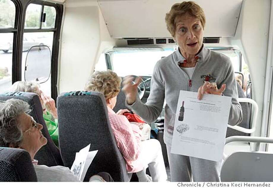 CHRISTINA KOCI HERNANDEZ/CHRONICLE  (Far left) Jackie Warden , a volunteer on the bus.	JEFFERSON AWARD WINNER: Sondra Napell, founder of Senior Tutors for Youth. Sondra Napell founded a program uniting Rossmore seniors with incarcerated youth in 1983. The seniors board the bus, often getting a mini-seminar on wheels on the hour-long journey to the ranch every Thursday. They spend two hours tutoring students before they return home. Photo: CHRISTINA KOCI HERNANDEZ