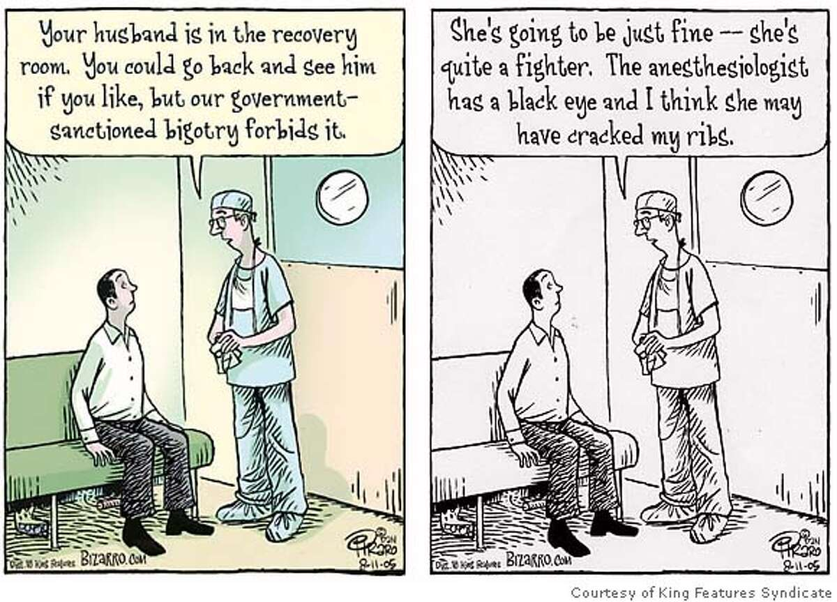 The two different Bizarro cartoons. Images courtesy of King Features Syndicate