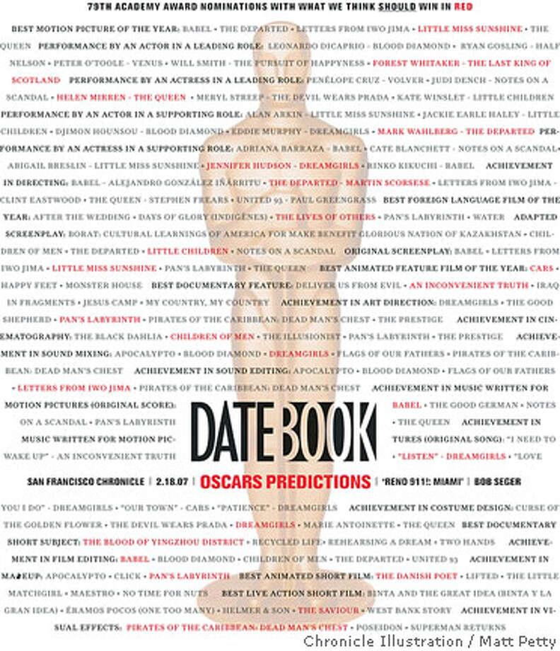 Datebook Cover: Oscars Predictions. Chronicle illustration by Matt Petty