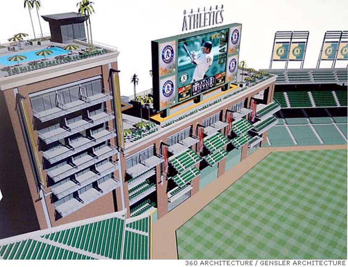 An architect's rendering of the proposed stadium that Oakland A's owner Lewis Wolff presented to the Oakland - Alameda Co. Coliseum Authority board of commissioners on 8/12/05 in Oakland, Calif. 360 ARCHITECTURE / GENSLER ARCHITECTURE