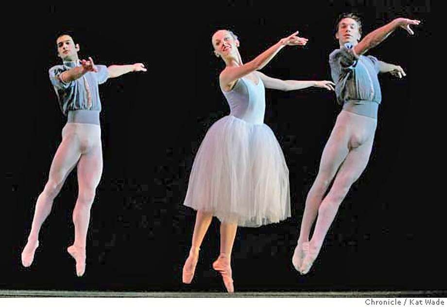 SJBALLET_246_KW.jpg Dancers (L to R) Rudy Candia, Erin Duffy and Travis Walker perform Le Style Classique during the dress rehearsal of the San Jose Ballet at the San Jose Center for the Performing Arts in San Jose on Valentines Day Wednesday February 14, 2007. Kat Wade/The Chronicle Mandatory Credit for San Francisco Chronicle and photographer, Kat Wade, No Sales Mags out Photo: Kat Wade
