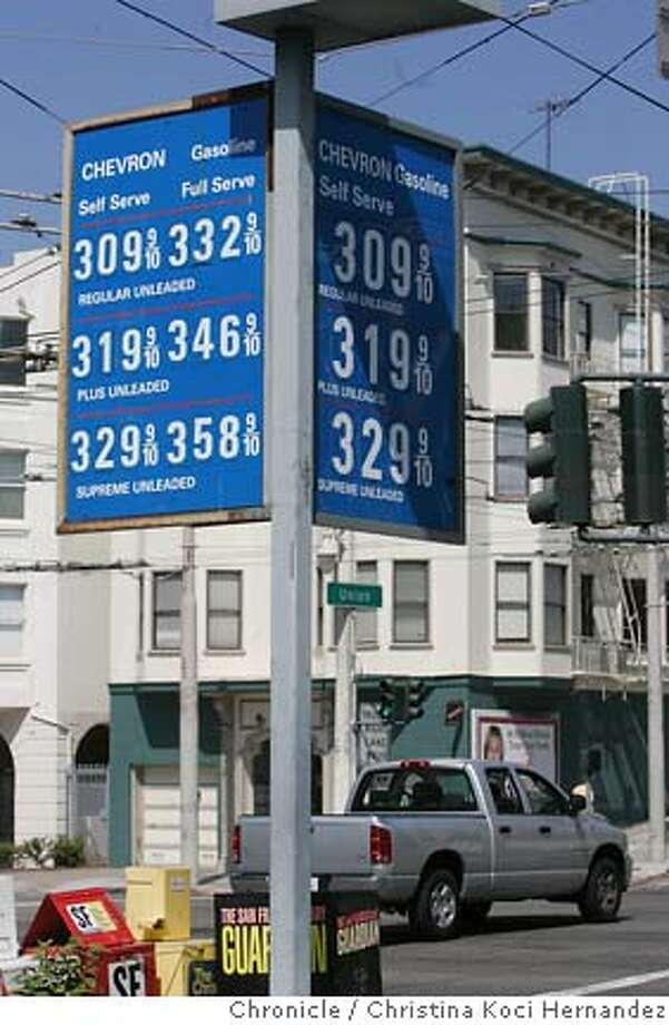 CHRISTINA KOCI HERNANDEZ/CHRONICLE  Chevron gas station on VanNess at Union.  the price of gas at some sf stations has gone above $3/gallon for regular unleaded. we talk to pissed off people. Photo: CHRISTINA KOCI HERNANDEZ