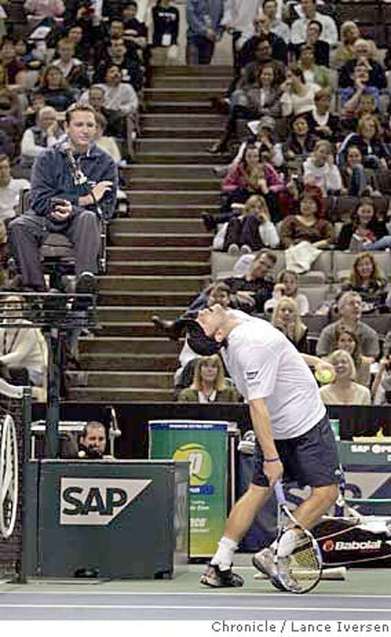 SAP tennis6662.JPG  Andy Roddick reacts to a judges fine call during his game with Vincent Spadea in the quarter finals of the SAP Tennis Open in San Jose, Calif, Thursday, Feb. 16, 2007. Roddick won 6-3, 6-7 5-Break and 6-1. February 16, 2007.SAN JOSE.  By Lance Iversen/San Francisco Chronicle MANDATORY CREDIT PHOTOG AND SAN FRANCISCO CHRONICLE/NO SALES MAGS OUT Photo: By Lance Iversen