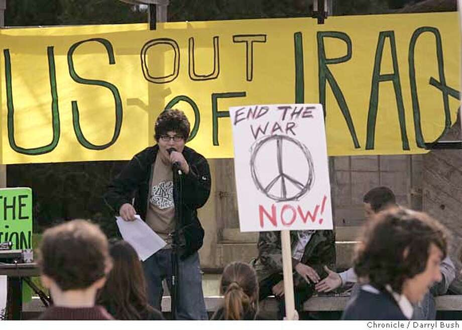 warprotests16_0001_db.JPG  Alex Mejia, a Junior at San Francisco State speaks out at a rally against the Iraq war in the main at the main San Francisco State University student center. Later SF State students and Lowell High School students marched in protest of the war in Iraq after meeting at a closed Military Recruitment Center near Stonestown Shopping Center in San Francisco, CA, on Thursday, February, 15, 2007. photo taken: 2/15/07  Darryl Bush / The Chronicle ** Alex Mejia (cq) MANDATORY CREDIT FOR PHOTOG AND SF CHRONICLE/NO SALES-MAGS OUT Photo: Darryl Bush