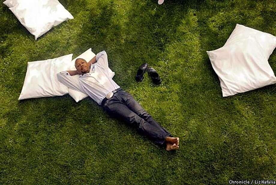 Ken Wingard, a home furnishings and accessories designer, at his San Francisco garden with yard pillows he's designed.  Event on 5/7/03 in San Francisco. LIZ HAFALIA / The Chronicle Photo: LIZ HAFALIA
