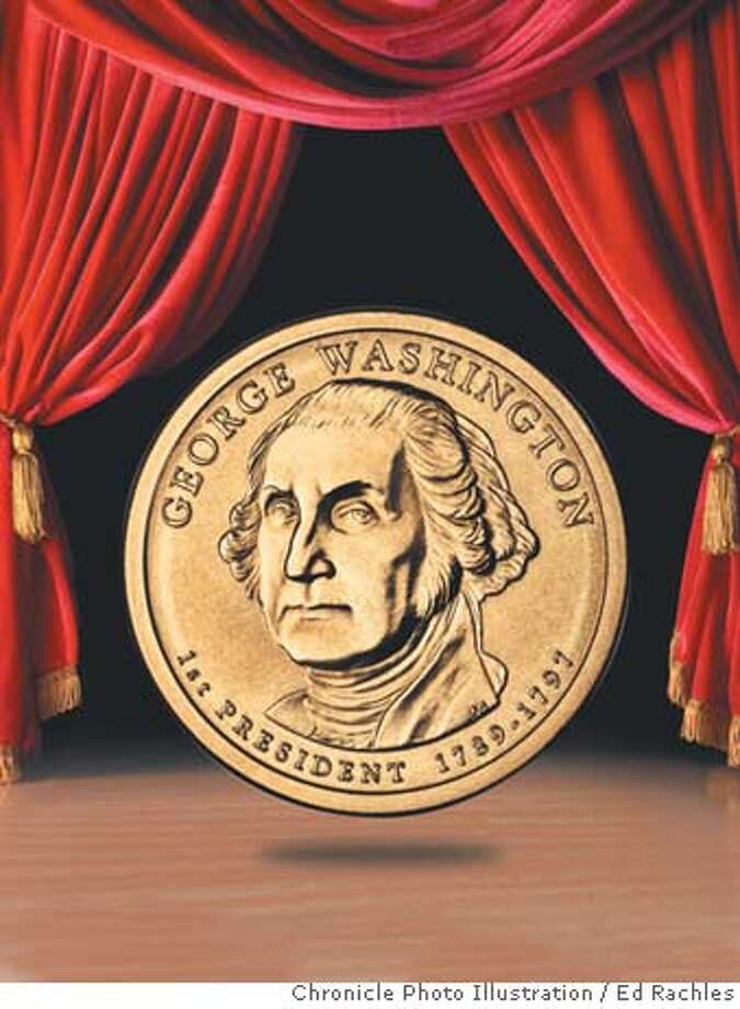 Washington inaugurates new dollar coin series. Chronicle photo illustration by Ed Rachles