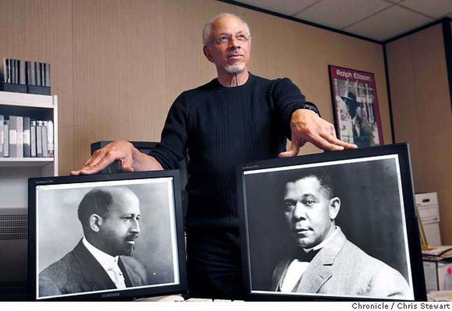 KIRKLAND16_013_cs.jpg  Documentary filmmaker Avon Kirkland is framed by American civil rights activist W.E.B. DuBois (left) and educator and African American activist Booker T. Washington (right) in his New Images Productions office in Berkeley, California. Kirkland is producer of a Booker T. Washington documentary project. As part of our continuing Black History Month series. Photographed February 8, 2007.  Chris Stewart / The Chronicle MANDATORY CREDIT FOR PHOTOG AND SF CHRONICLE/NO SALES-MAGS OUT Photo: Chris Stewart