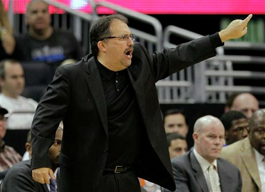 Orlando Magic coach Stan Van Gundy directs his layers during the second half of an NBA basketball game against the San Antonio Spurs, Wednesday, Jan. 18, 2012, in Orlando, Fla. San Antonio won in overtime, 85-83.(AP Photo/John Raoux) Photo: Associated Press
