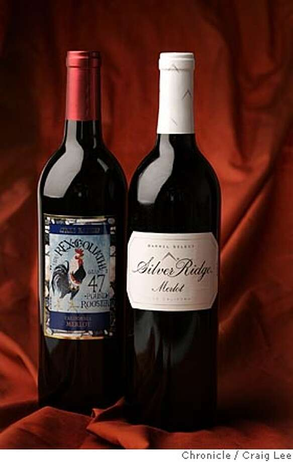 BARGAIN11_036_cl.JPG  Bargain wines column. Photo of Nonvintage Rex Goliath Giant 47-Pound Rooster California Merlot (left), and 2003 Silver Ridge California Barrel Select Merlot (right).  Event on 8/4/05 in San Francisco. Craig Lee / The Chronicle MANDATORY CREDIT FOR PHOTOG AND SF CHRONICLE/ -MAGS OUT Photo: Craig Lee