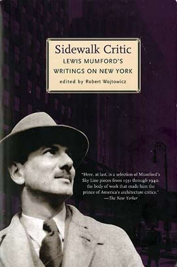 "Cover art from ""Sidewalk Critic: Lewis Mumford's Writings on New York."" Edited by Robert Wojtowicz."