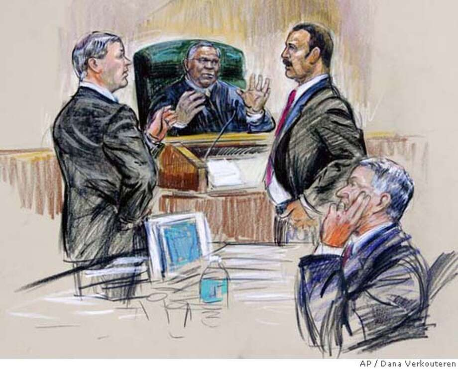 In this artists rendering, District Judge Reggie Walton, center, speaks to Special Prosecutor Patrick Fitzgerald, left, and Theodore V. Wells, right, attorney for I. Lewis 'Scooter' Libby, lower right seated, former chief of staff for Vice President Dick Cheney Wednesday, Feb. 14, 2007, in Washington. (AP Photo/Dana Verkouteren) ARTISTS RENDERING Photo: DANA VERKOUTEREN