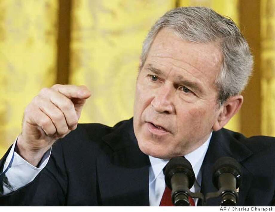 President Bush gestures during a news conference in the East Room of the White House in Washington, Wednesday, Feb. 14, 2007. (AP Photo/Charles Dharapak) Photo: CHARLES DHARAPAK