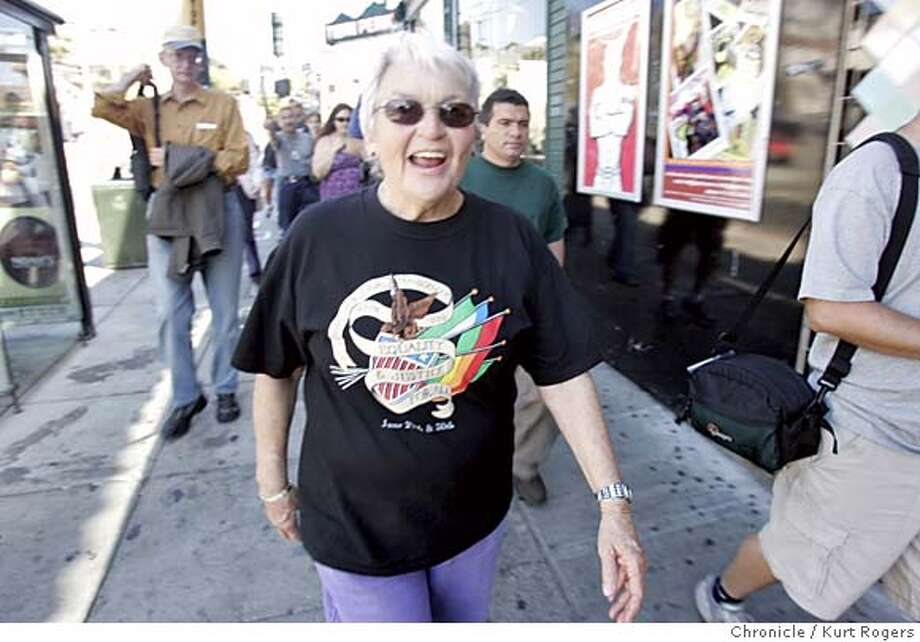 Trevor Hailey, 65, who's been leading the only walking tour of the Castro for the past 16 years, is retiring in mid-August. In the Castro's heyday, she led four-hour tours seven days a week for tourists from around the world  TOUR_0073_kr.JPG 8/6/05 in San Francisco,CA.  KURT ROGERS/ MANDATORY CREDIT FOR PHOTOG AND SF CHRONICLE/ -MAGS OUT Photo: KURT ROGERS