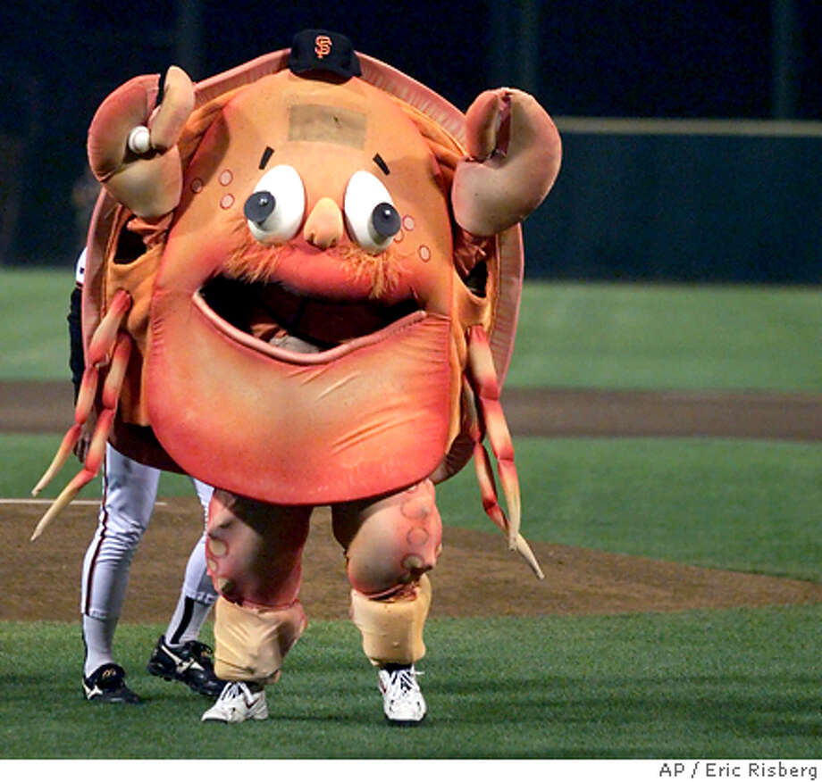 Crazy Crab, the former mascot of the San Francisco Giants, prepares to throw out the first pitch prior to the Giants' game against the Los Angeles Dodgers at 3Com Park in San Francisco, Wednesday, Sept. 29, 1999. The Giants will play their final game at 3Com Thursday before moving to their new park next season. (AP Photo/Eric Risberg) Photo: ERIC RISBERG