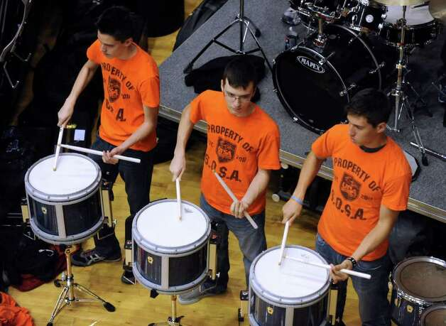 UTSA pep band drummer play the UTSA fight song during Southland Conference basketball action against Northwestern State at the UTSA Convocation Center on Wednesday, Jan. 18, 2012. BILLY CALZADA / San Antonio Express-News 
