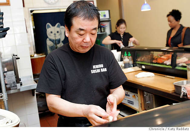 BARGAIN15_021_RAD.jpg SHOWN: The owner and sushi chef Ichiro Kazato at Ichiro Sushi, at 412 15th St. in Oakland, a small sushi bar with a great sake list and great sushi. These pictures were made on Monday, Feb. 5, 2007, in Oakland, CA.  (Katy Raddatz/SF Chronicle) **Ichiro Sushi, Ichiro Kazato Photo: Katy Raddatz