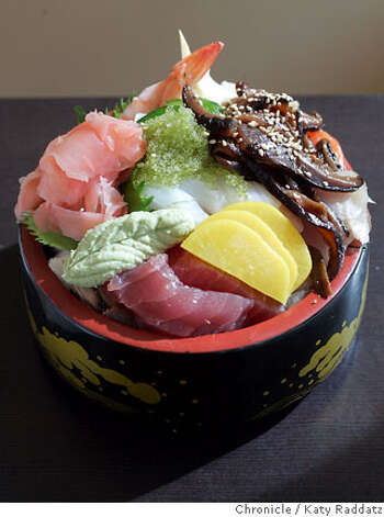 BARGAIN15_008_RAD.jpg SHOWN: A lovely Chirashi Bowl at Ichiro Sushi, at 412 15th St. in Oakland, a small sushi bar with a great sake list and great sushi. These pictures were made on Monday, Feb. 5, 2007, in Oakland, CA.  (Katy Raddatz/SF Chronicle) **Ichiro Sushi, Chirashi Photo: Katy Raddatz