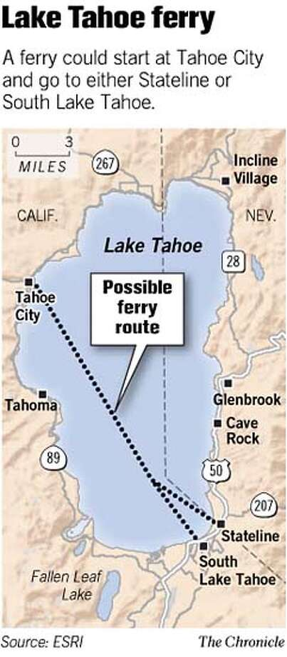 Lake Tahoe Ferry. Chronicle Graphic