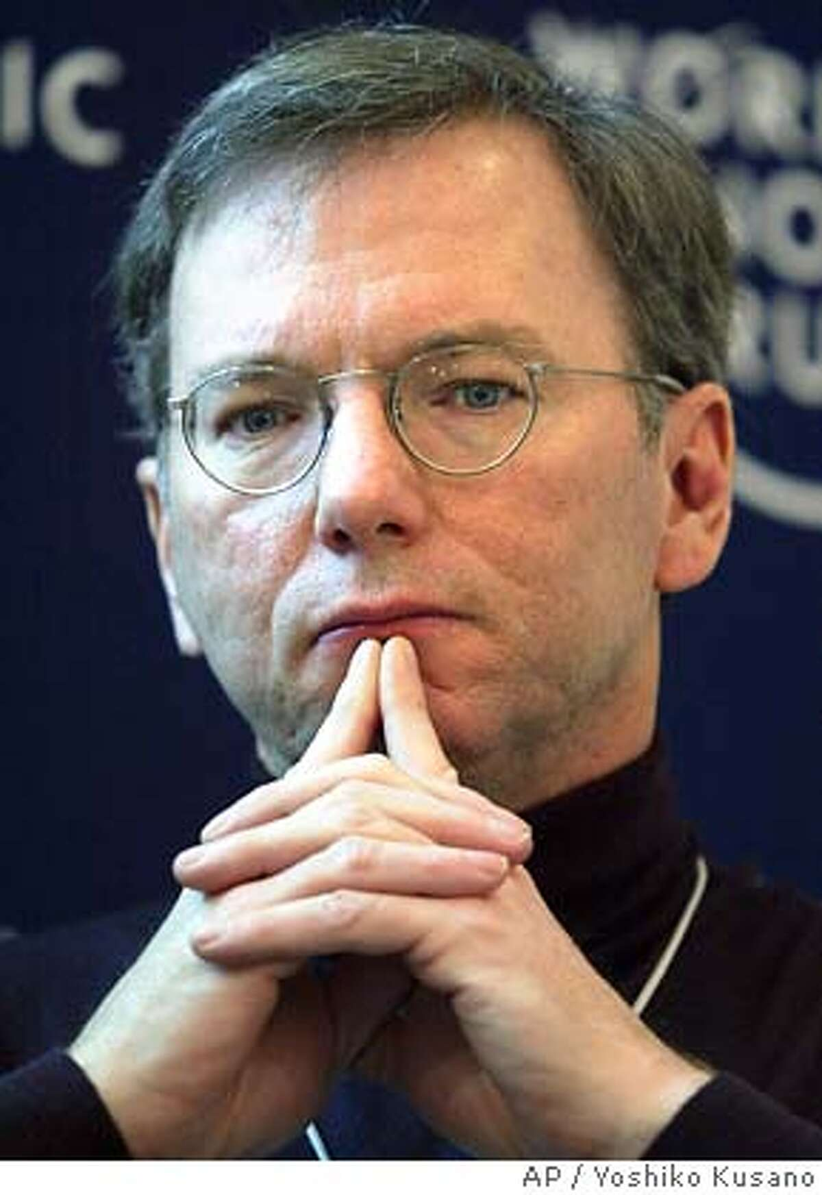 Eric Schmidt, CEO of Google, USA, participates in a panel session at the Annual Meeting of the World Economic Forum in Davos, Switzerland, Friday, Jan. 23, 2004. (AP Photo/ Keystone, Yoshiko Kusano) ALSO Ran on: 12-02-2004 Eric Schmidt, Googles chief executive, is pleased with the IPOs run-up. Ran on: 04-09-2005 ALSO RAN: 05/11/2005 ALSO Ran on: 06-22-2005