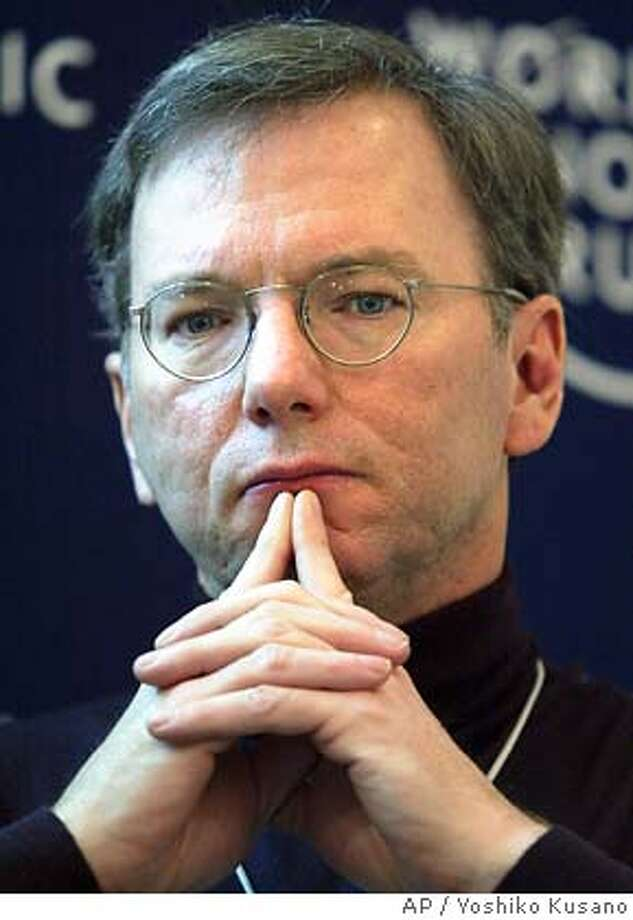 Eric Schmidt, CEO of Google, USA, participates in a panel session at the Annual Meeting of the World Economic Forum in Davos, Switzerland, Friday, Jan. 23, 2004. (AP Photo/ Keystone, Yoshiko Kusano) ALSO Ran on: 12-02-2004  Eric Schmidt, Google's chief executive, is pleased with the IPO's run-up. Ran on: 04-09-2005  ALSO RAN: 05/11/2005 ALSO Ran on: 06-22-2005 Photo: YOSHIKO KUSANO