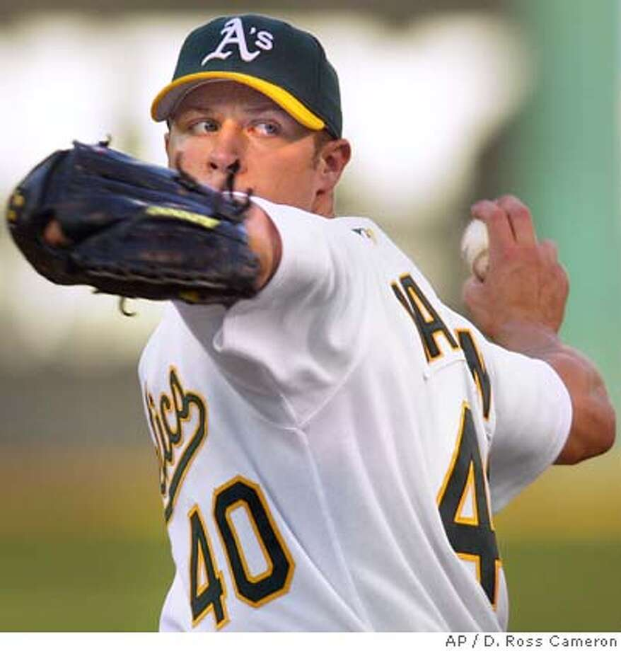 Oakland Athletics' Rich Harden pitches against the Detroit Tigers in the second inning Friday, July 29, 2005, in Oakland, Calif. (AP Photo/D. Ross Cameron) Photo: D. ROSS CAMERON
