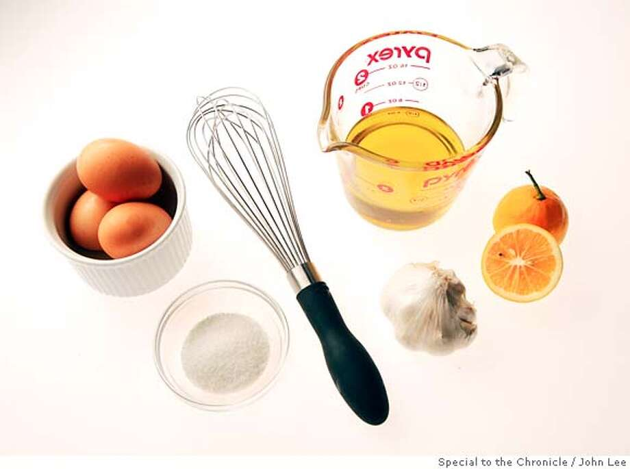 MAYONNAISE14_01JOHNLEE.JPG  Ingredients for making mayonnaise.  By JOHN LEE/SPECIAL TO THE CHRONICLE Photo: JOHN LEE