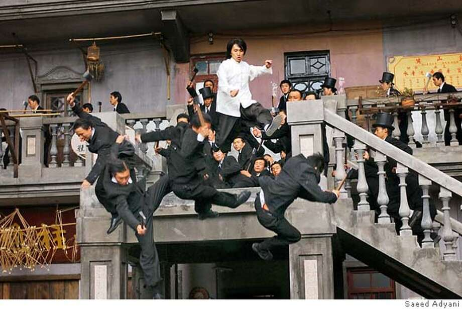 "Stephen Chow blasts members of the Ax Gang in ""Kung Fu Hustle."" Photo by Saeed Adyani Stephen Chow shows off his stuff in &quo;Kung Fu Hustle.&quo; Photo: Saeed Adyani"