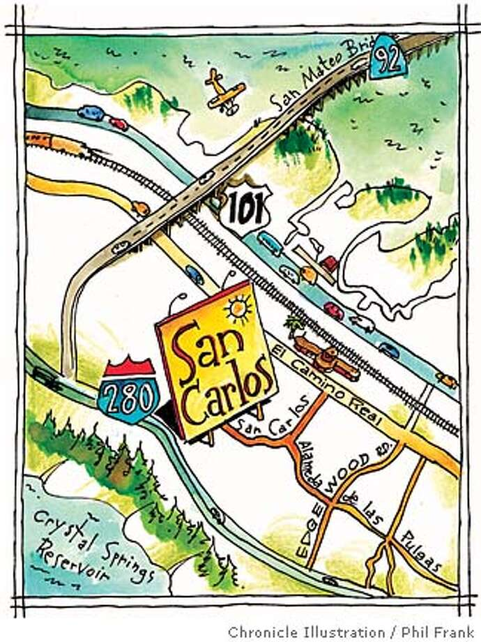 The San Carlos web site touts the city as sitting exactly halfway from San Francisco to San Jose, 23 miles from both, but other cities  down there have their own way of  measuring to make that same claim. Chronicle illustration by Phil Frank
