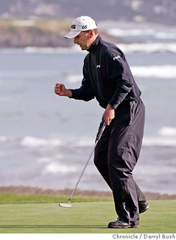 AT&Tgolf_0002_db.JPG  Golfer Kevin Sutherland celebrates after sinking a birdie on the 18th hole (to wind up in 2nd place) in the final round at Pebble Beach, at the 2007 AT&T Pebble Beach National Pro-Am at Pebble Beach Golf Links in Pebble Beach, CA, on Sunday, February, 11, 2007. Phil Mickelson won by 5 strokes shooting 268 for 72 holes. photo taken: 2/11/07  Darryl Bush / The Chronicle ** (cq) MANDATORY CREDIT FOR PHOTOG AND SF CHRONICLE/ -MAGS OUT Photo: Darryl Bush