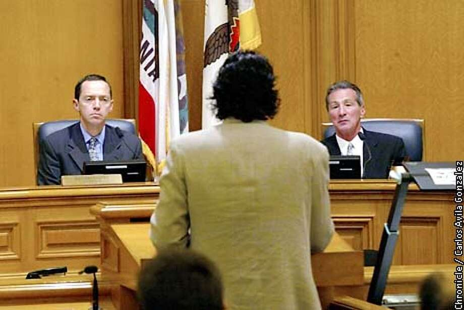 San Francisco Supervisors, Bevan Dufty, left, and Tom Ammiano, listen to Dr. Jorge Partida, with the SF Department of Public Health, during a committee meeting concerning the epidemic rise in the use of Crystal Methamphetamine and its conncection to rising HIV rates, in San Francisco, Ca., on Wednesday May 7, 2003.  Event on 05/07/03 in San Francisco, CA. Photo By CARLOS AVILA GONZALEZ / The San Francisco Chronicle Photo: CARLOS AVILA GONZALEZ