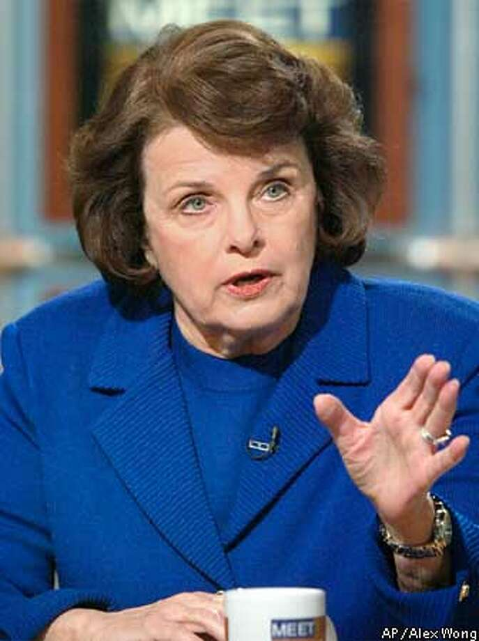 """Sen. Dianne Feinstein, D-Calif., talks to reporters during her appearance on """"Meet The Press"""" at the NBC studios in Washington Sunday, Feb. 24, 2002. (AP Photo/Meet the Press, Alex Wong) ALSO RAN 03/8/02, 7/20/02, 10/11/02 Photo: ALEX WONG"""