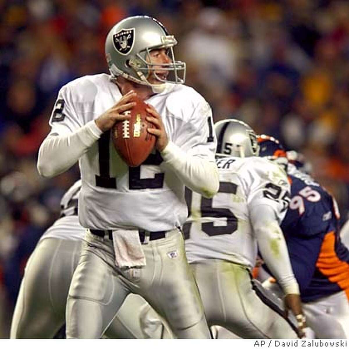 Oakland Raiders quarterback Rich Gannon setup to throw from the pocket during the second quarter against the Denver Broncos on Monday night, Nov. 11, 2002, in Denver. . (AP Photo/David Zalubowski) ALSO RAN 11/07/03 CAT