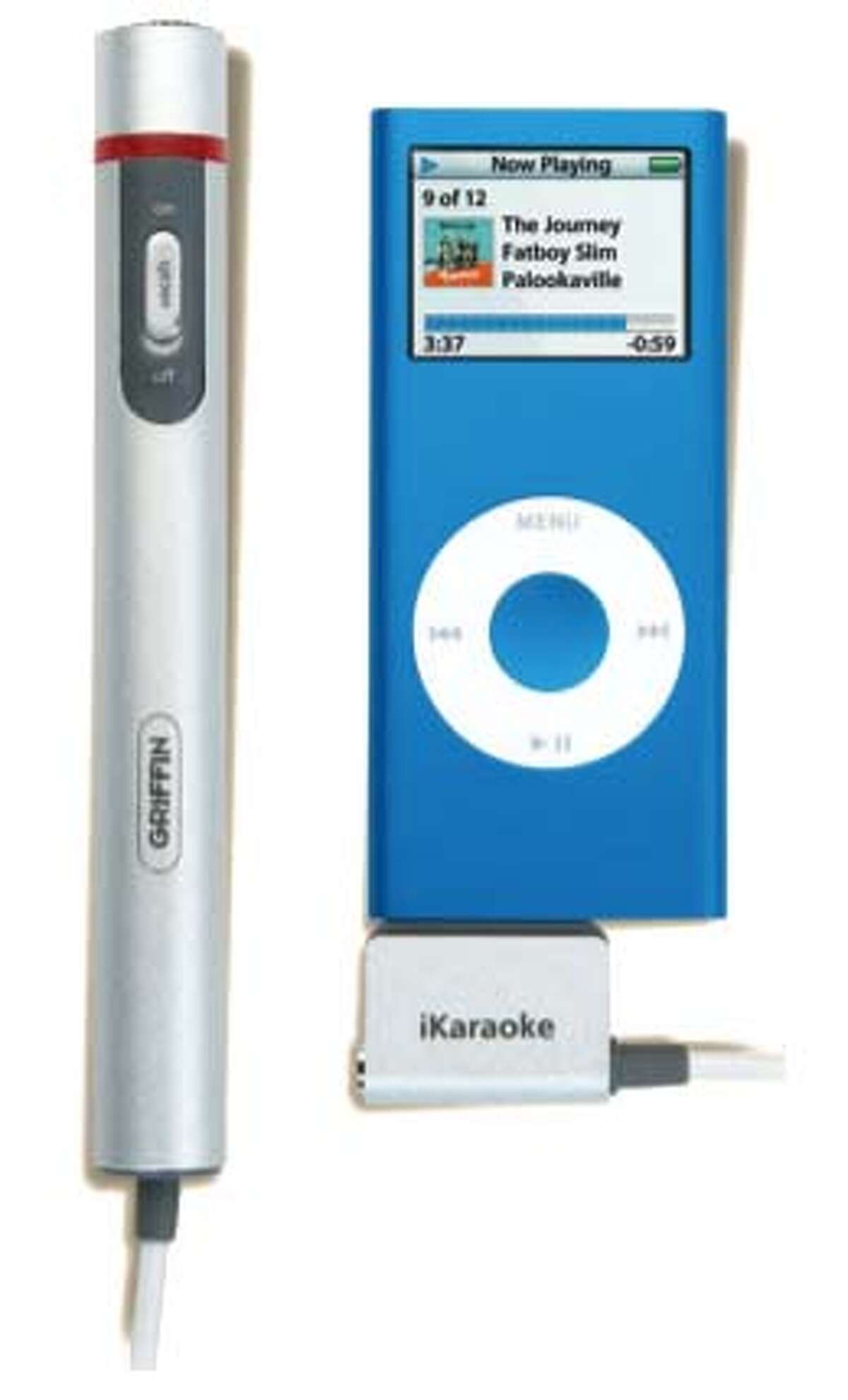 The iKaraoke connects to an iPod. It can soften vocals and pump up background music.