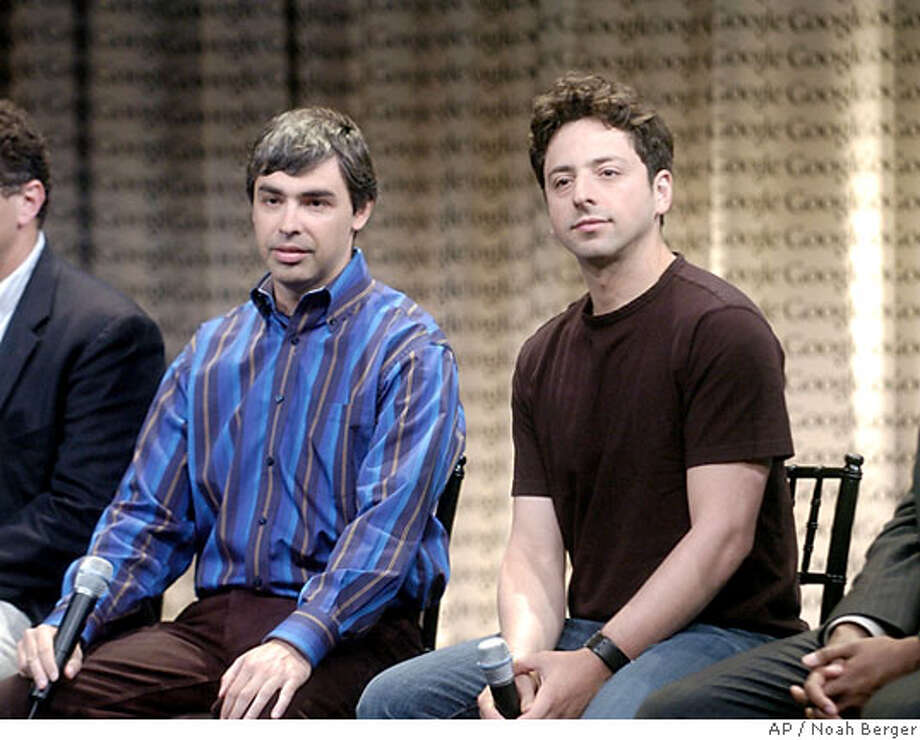 Google co-founders Sergey Brin, right, and Larry Page speak with reporters Wednesday, May 10, 2006, in Mountain View, Calif. Executives discussed the release of Desktop 4, a file-search utility, during Wednesdays event. (AP Photo/Noah Berger)  Ran on: 05-11-2006  Google co-founders Larry Page (left) and Sergey Brin speak with reporters on Wednesday.  Ran on: 07-07-2006  A verb is born out of Google, the company founded by Larry Page (left) and Sergey Brin.  Ran on: 07-11-2006  Google billionaires Larry Page and Sergey Brin took time off from work to furnish their private jet.  Ran on: 09-16-2006  Sergey Brin is one of the founders of the Mountain View company.  Ran on: 11-30-2006  Brin Photo: NOAH BERGER