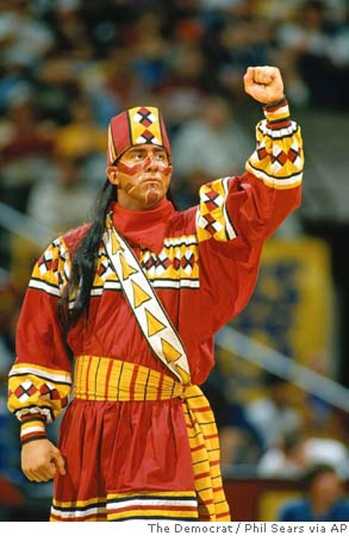 This undated photo shows Florida State mascot Chief Osceola at a basketball game in Tallahassee, Fla. The NCAA banned the use of American Indian mascots by sports teams during its postseason tournaments, but will not prohibit them otherwise. At least 18 schools have mascots the NCAA deem ``hostile or abusive,'' including Florida State's Seminole and Illinois' Illini. Florida State President T.K. Wetherell threatened to take legal action after the ruling. (AP Photo/The Democrat, Phil Sears) UNDATED PHOTO