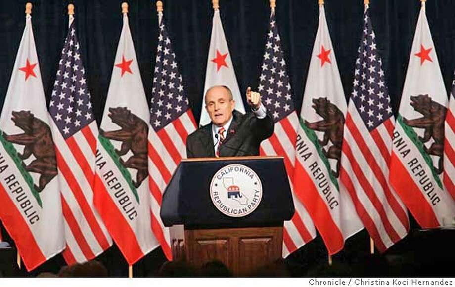 GOP presidential hopeful and former mayor of New York City Rudolph Giuliani speaks to California Republicans at their convention. (CHRISTINA KOCI HERNANDEZ/CHRONICLE) CHRONICLE Photos by CHRISTINA KOCI HERNANDEZ Photo: CHRISTINA KOCI HERNANEZ/CHRONICL