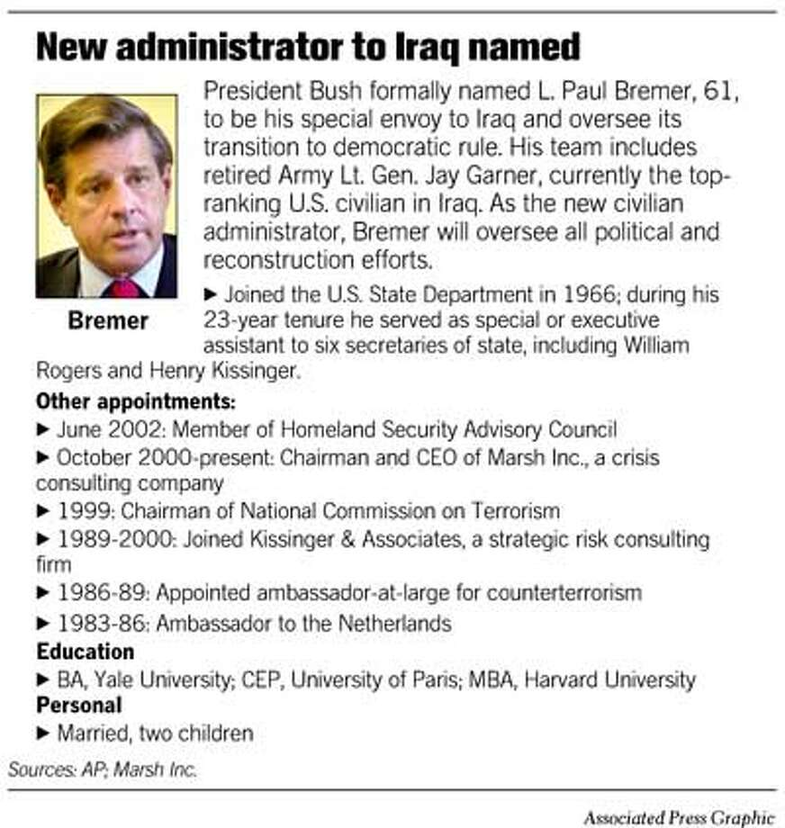 New Administrator to Iraq Named. Associated Press Graphic