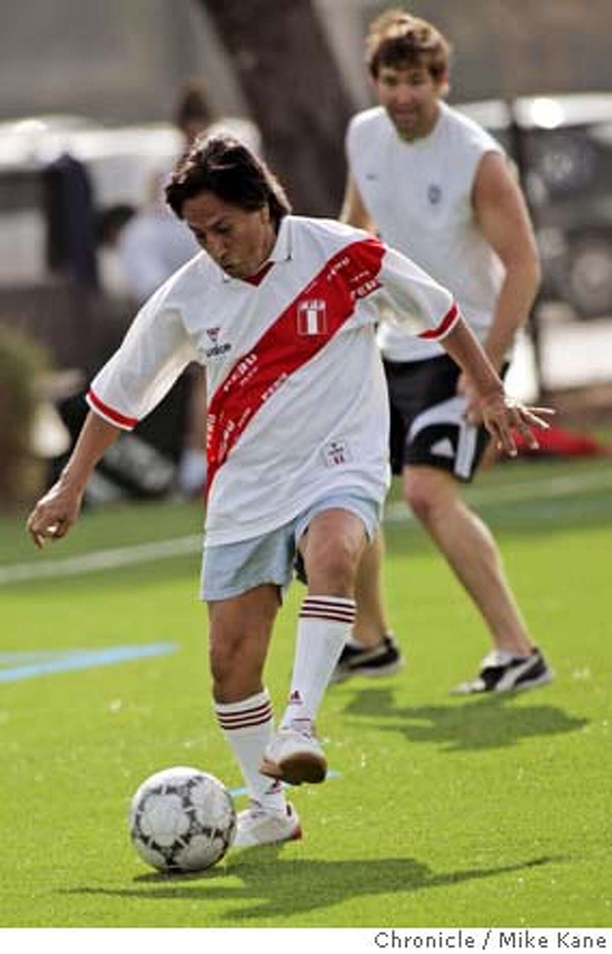 Former president of Peru Alejandro Toledo plays pick-up soccer on Stanford's campus in Palo Alto, CA, on Tuesday, February, 6, 2007.
