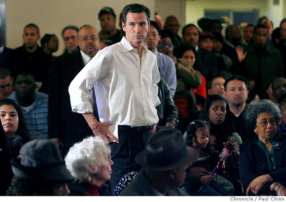 Mayor Gavin Newsom listens to neighbors talk during a town hall meeting for the Bayview neighborhood at the Whitney Young Community Center in San Francisco, Calif. on Saturday, February 10, 2007. PAUL CHINN/The Chronicle