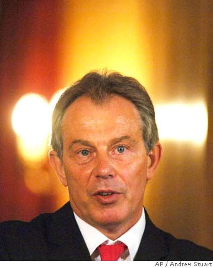 Britain's Prime Minister Tony Blair hosts his last press conference before his summer break inside the State Dining Room of his official residence 10 Downing Street in London Friday Aug. 5, 2005. Prime Minister Blair on Friday announced new measures against people who foster hatred and advocate violence.(AP Photo/ Andrew Stuart - WPA POOL) Photo: ANDREW STUART