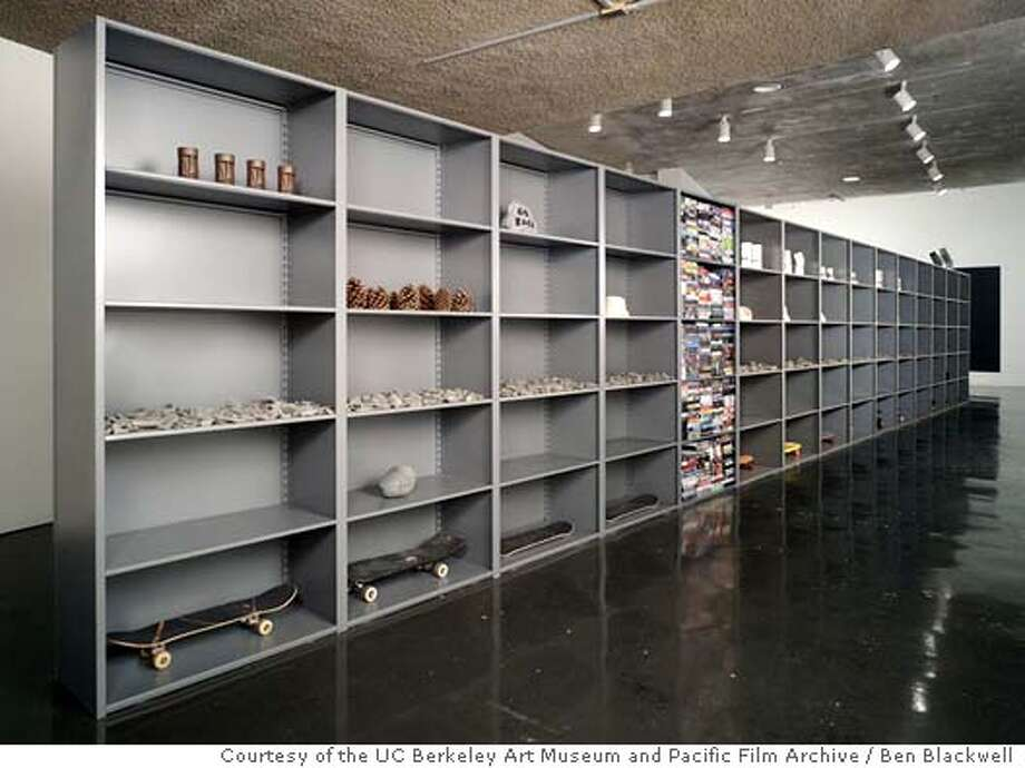 """GALS06 """"Work in Progress: Objects for People--Snapshots,"""" (2005) mixed media installation by Haim Steinbach Photo by Ben Blackwell�  Courtesy of the UC Berkeley Art Museum and Pacific Film Archive"""