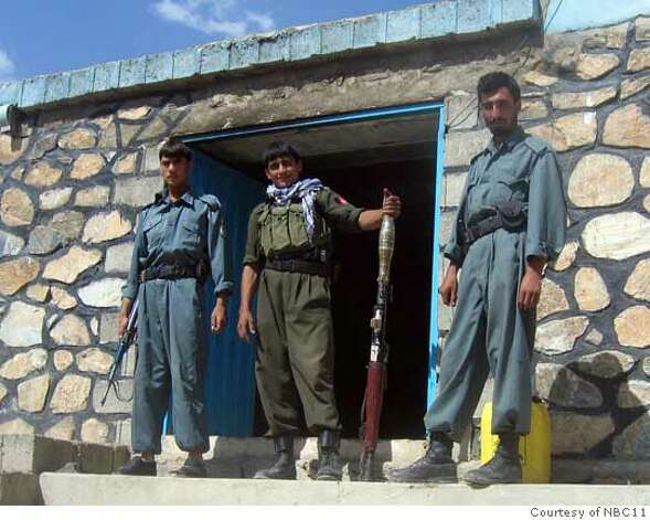 Taken in Afghanistan and I think it is of guards guarding the local school. Girls are not allowed to attend school and will be killed by the Taliban. Photo: Courtesy Of NBC11